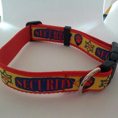 Security print red yellow and blue adjustable dog collars medium / large