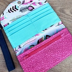 Fold Up Wallet, Clutch Purse with Carry Strap - Boho Feathers