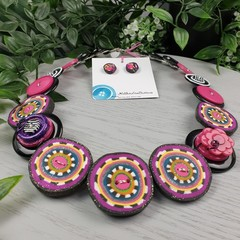 Zara - Necklace Buttons and Polymer - Jewellery - Earrings