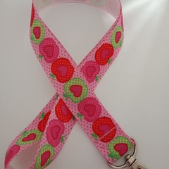 Red and green apple print lanyard / ID holder / badge holder