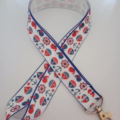 Red white and blue nautical print lanyard / ID holder / badge holder