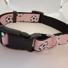 Pink soccer ball print adjustable dog collars medium / large