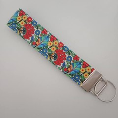 Red and blue flower print key fob wristlet
