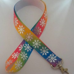 rainbow and silver snowflake print Christmas lanyard/ ID holder / badge holder