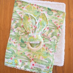 Burp Cloth & Teether Gift Set