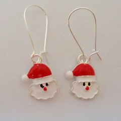 Red and white Santa Clause Christmas earrings