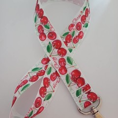 Red and green cherry print lanyard / ID holder / badge holder