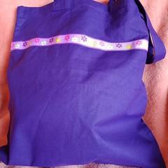 Purple flower trim tote bag / shopping bag