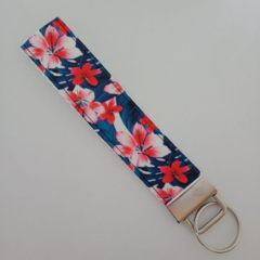 Red and blue tropical flower key fob wristlet