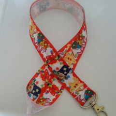 Red gingerbread man / Christmas lanyard / ID holder / badge holder