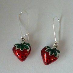 Red and green strawberry earrings