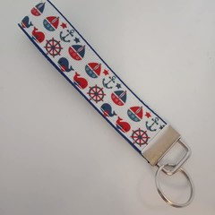 Red white and blue nautical print key fob wristlet