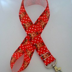 Red and white reindeer Christmas lanyard / ID holder / badge holder