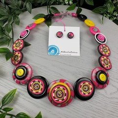 Zed- Necklace Buttons and Polymer - Jewellery - Earrings