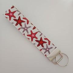 Red starfish print key fob wristlet