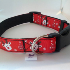 Red Rudolph reindeer adjustable dog collars medium / large