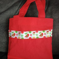 Red Christmas bird trim mini tote bag / Christmas gift bag