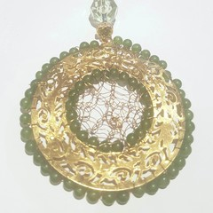 Dream catcher, christmas tree ornament, green and gold.