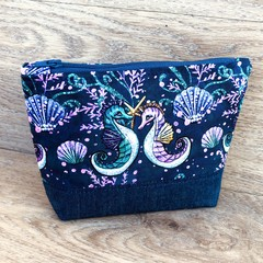 Cosmetics Pouch, Travel Bag, Zippered Clutch - Seahorses