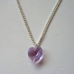 Purple AB crystal heart necklace