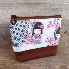 Cosmetics Pouch, Travel Bag, Zippered Clutch -Cherry Blossom