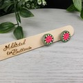 Zap Watermelon Organic Circle Stud earrings - Handcrafted earrings