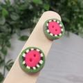 Zap Watermelon Organic Circle Stud earrings - Handcrafted earrings