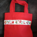 Red mini cotton Christmas tote bag with sweets trim