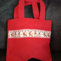 Red mini tote bag with reindeer trim / Christmas gift bag