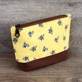 Cosmetics Pouch, Travel Bag, Zippered Clutch - Yellow Bees