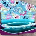 Ladies Expandable Fabric Wallet - Purple