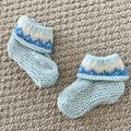 Blue Fairisle   booties - Hand knitted in Pure Wool