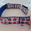 Red white and blue nautical print adjustable dog collars medium / large