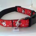 Red Rudolph reindeer adjustable dog collars medium / large
