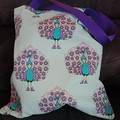 Purple and blue peacock print tote bag / shopping bag