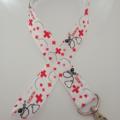 Red black and white nurse print lanyard / ID holder / badge holder
