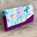 Ladies Expandable Fabric Wallet - Purple