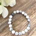 8mm Howlite Faceted Natural Gemstone Crystal  Bracelet - Wedding Birthday Gift