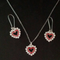 Silver and gold heart necklace and earring sets