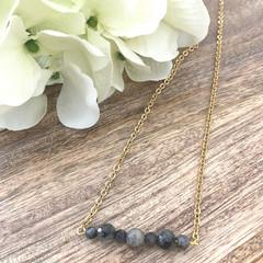 Gold Plated Gemstone Crystal Laboradite Bead Bar Necklace- Wedding Birthday Gift