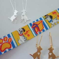 Silver and gold mastiff / dog charm earrings
