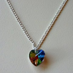 Silver AB crystal heart necklace