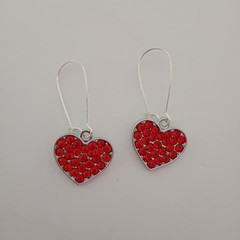 Silver and red crystal heart charm earrings