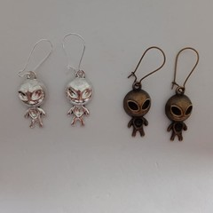 Silver and bronze UFO alien charm earrings