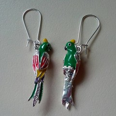 Silver bird / parrot charm earrings