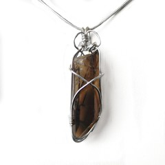 Smoky Quartz large crystal point Sterling silver wire wrapped pendant