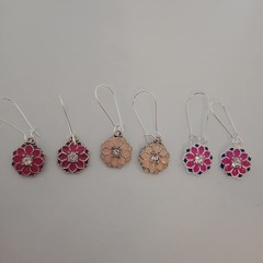 Silver and pink mandala charm earrings