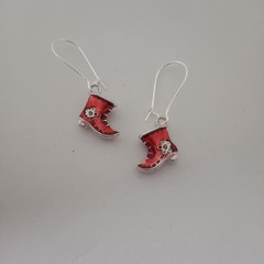 Red Christmas stocking / boot earrings