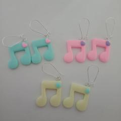 Resin music note earrings
