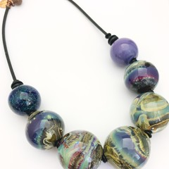 'Other worlds' necklace - hand blown one-of-a-kind glass bead necklace